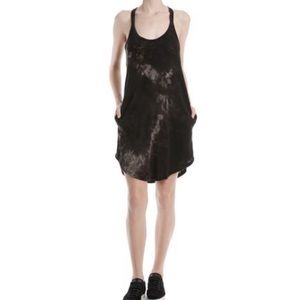 ATM Tie Dye Trapeze Black Gray Tank Dress Small